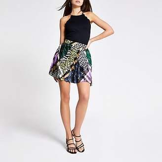 River Island Purple print pleated mini skirt