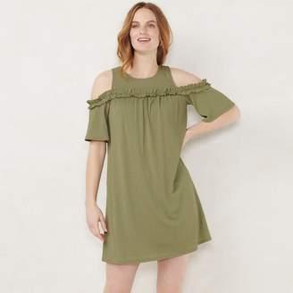 Lauren Conrad Women's Ruffle Cold-Shoulder Dress