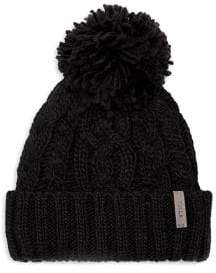 Rella Pom-Pom Cable-Knit Beanie