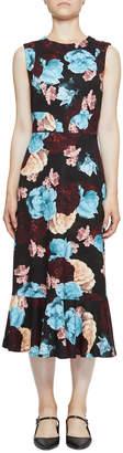 Erdem Grazia Sleeveless Floral Flounce Midi Dress