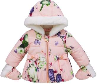 Ted Baker Baby Girls Aop Padded Coat & Mittens