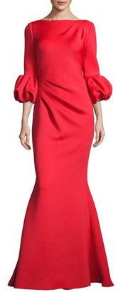 Jovani Bubble-Sleeve Crepe Mermaid Gown, Tomato $595 thestylecure.com