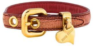 Miu Miu Leather Heart Charm Bracelet