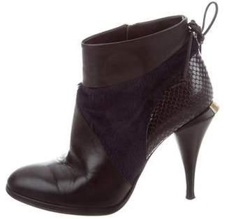 Fendi Snakeskin-Accented Round-Toe Booties