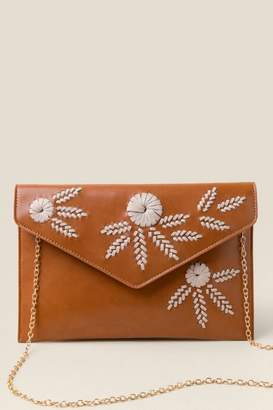 francesca's Chloe Floral Embroidered Crossbody - Cognac