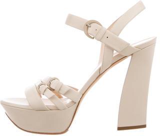 Casadei Leather Platform Sandals $125 thestylecure.com
