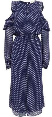 MICHAEL Michael Kors Polka-Dot Cropped Cold-Shoulder Georgette Jumpsuit