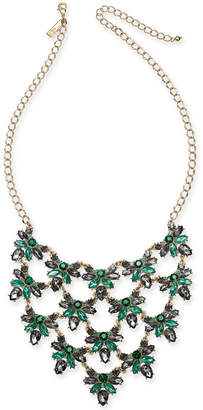 "INC International Concepts I.n.c. Gold-Tone Crystal Cluster Statement Necklace, 18"" + 3"" extender"