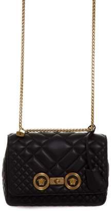 Versace Black Quilted Leather Shoulder Bag With Medusa Logo