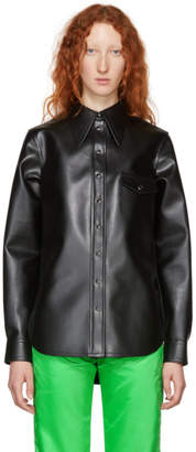 Kwaidan Editions Black Faux-Leather Pointed Collar Shirt
