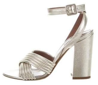 Tabitha Simmons Metallic Ankle Strap Sandals