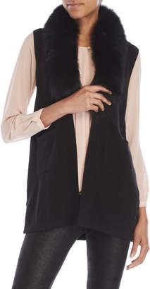 Qi Petite Fur Collar Cashmere Vest