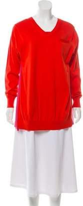 Sacai Silk-Trimmed Long Sleeve Sweater