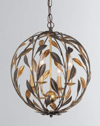 Broche 4-Light English Bronze and Antiqued Gold Sphere Mini Chandelier