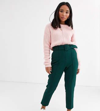 Asos DESIGN Petite high waist cigarette pants with belt