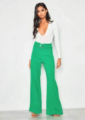 e7c080428fdd Missy Empire Missyempire Roe Green High Waist Belted Wide Leg Trousers