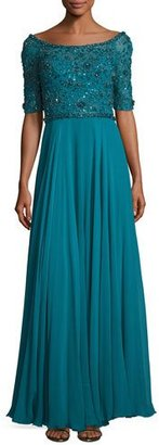 Jenny Packham Sequined Half-Sleeve Boat-Neck Gown, Emerald $5,275 thestylecure.com