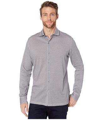 Bugatchi Delft Knit Long Sleeve Full Front Button-Down Spread Collar