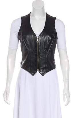 Henri Bendel Leather V-Neck Vest