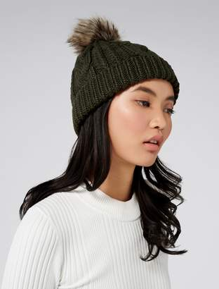 Forever New Cassie Cable Pom Beanie - Olive - 00