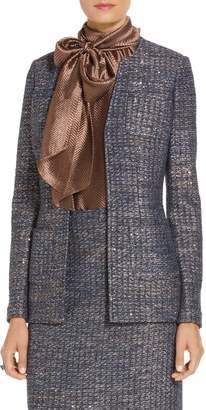 St. John Copper Sequin Tweed Knit V-Neck Jacket