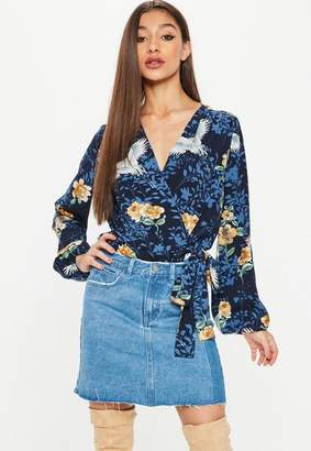 Missguided Navy Floral Long Sleeve Tie Side Bodysuit, Blue