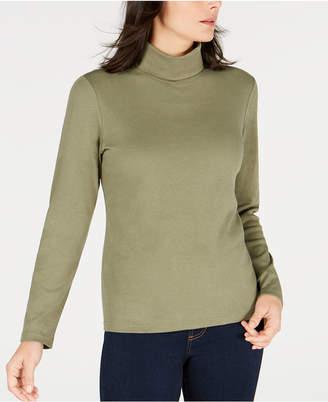 Karen Scott Petite Long-Sleeve Cotton Turtleneck