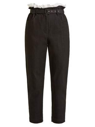 Isa Arfen Belted Tapered Leg Denim Cropped Trousers - Womens - Black