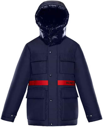 Moncler Perpignan Mixed-Material Hooded Jacket, 8-14