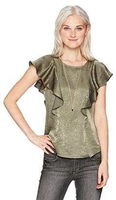 Amy Byer A. Byer Women's Short Sleeve Ruffled Satin Top