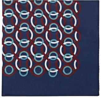 Bigi Men's Interlocking-Ring-Print Cotton Pocket Square