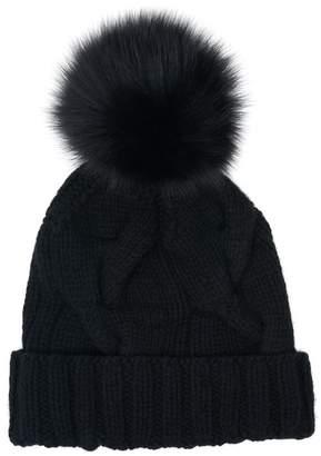 Loro Piana Courchevel Black Cashmere Fur Pom Pom Hat