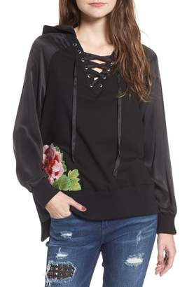 True Religion Brand Jeans Lace-Up Pullover
