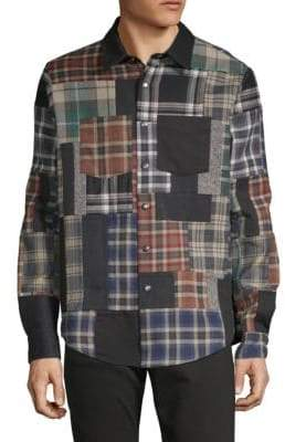 Valentino Patchwork Long-Sleeve Button-Down Shirt
