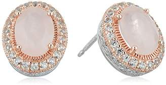 14k Rose Gold Plated Sterling Silver Genuine Rose Quartz and Created Sapphire Halo Two Tone Stud Earrings