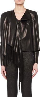 Isabel Marant Asymmetric Fringe Lamb Leather Jacket