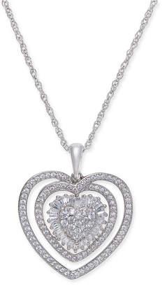 Macy's Diamond Heart Pendant Necklace (1/2 ct. t.w.) in Sterling Silver.