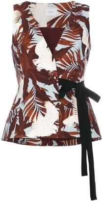 Erdem Floral wrap top with ribbon tie