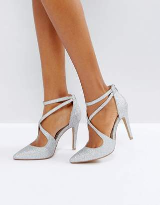 Head Over Heels by Dune Cassy Silver Heeled Shoes