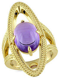 Catherine Malandrino 18K Goldplated Amethyst Open Link Cocktail Ring