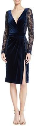 Tadashi Shoji Lace Long-Sleeve & Velvet V-Neck Dress