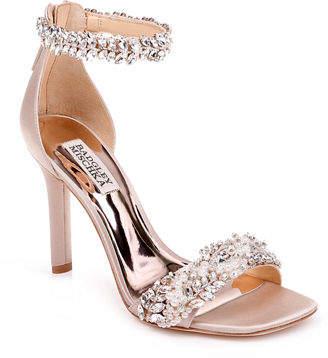 e12fd901496 Badgley Mischka Fiorenza Embellished Satin Ankle-Wrap Sandals