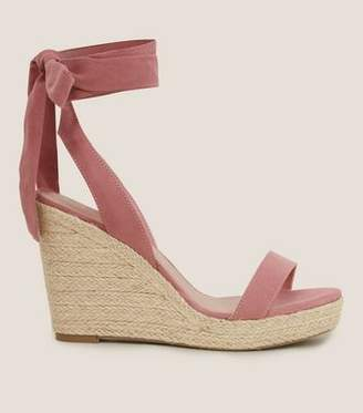 New Look Wide Fit Pink Suedette Ankle Tie Espadrille Wedges