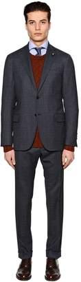 Lardini Checked Stretch Wool Suit