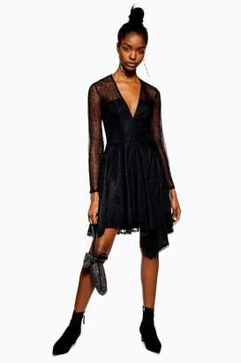 Topshop Lace Hanky Hem Skater Dress
