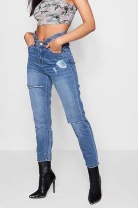 boohoo Double Waistband Straight Leg Jeans
