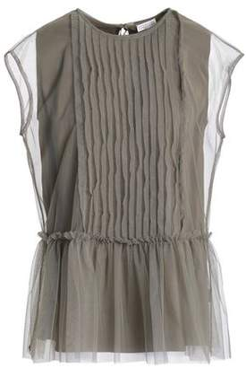 b02ce1f856416d Brunello Cucinelli Pintucked Stretch-silk Tulle Peplum Top