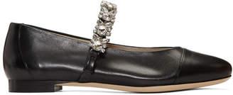 ALEXACHUNG Black Crystal Strap Ballerina Flats