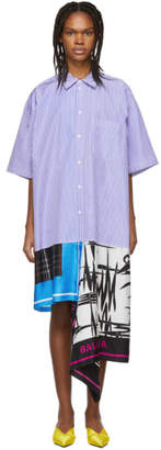 Balenciaga Blue and White Scarf Shirt Dress