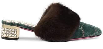 Gucci Women's Candy Fur-Trimmed Velvet Mules